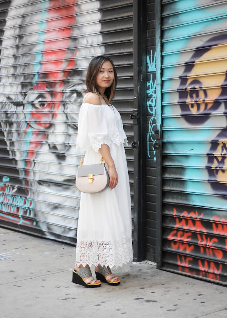 Romantic White Maxi Dress and Chloe Bag