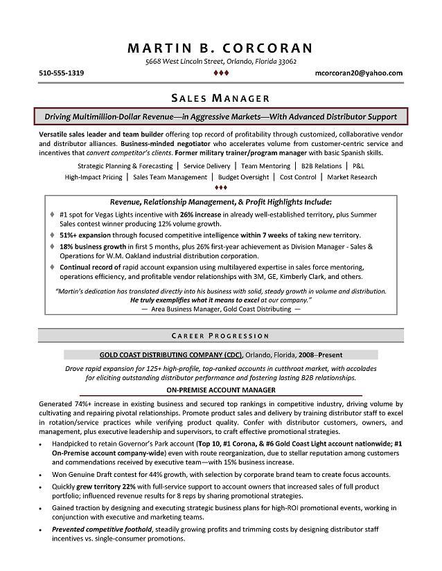 Resume Sample For Sales - sales resume words