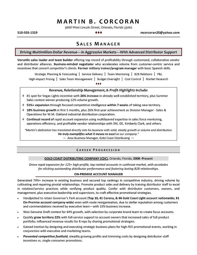 sample resume territory sales manager