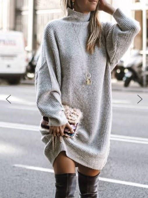 Turtleneck Sweater Midi Dress