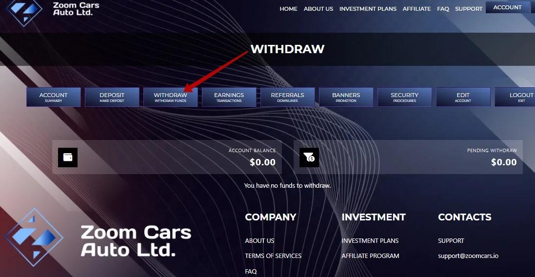 Вывод средств в Zoom Cars Auto