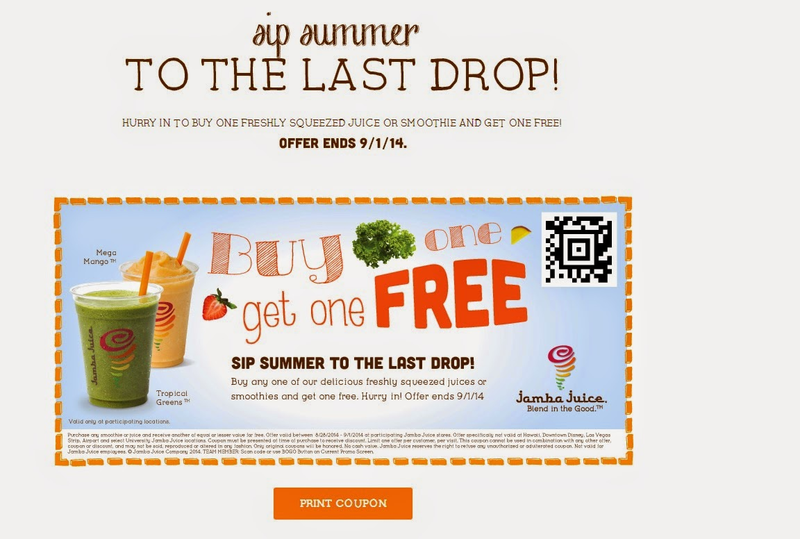 image about Jamba Juice Printable Coupon named Invest in one particular choose absolutely free jamba juice labor working day