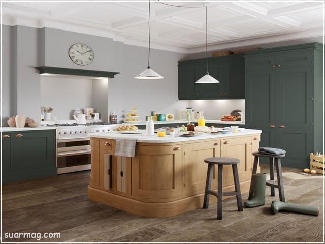 اشكال مطابخ خشب 14   wood kitchens shapes 14