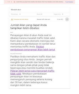 Penyebab terkena soft banned ( Suspended ) oleh google adsense