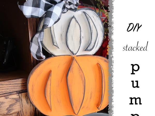 DIY Scrap Wood Stacked Pumpkin for Fall