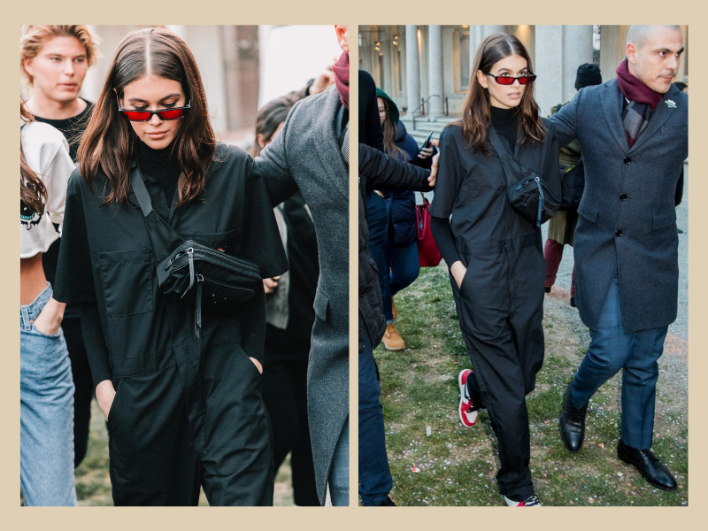 kaia gerber, boilersuit, how to wear a boilersuit, bumbag, fanny pack