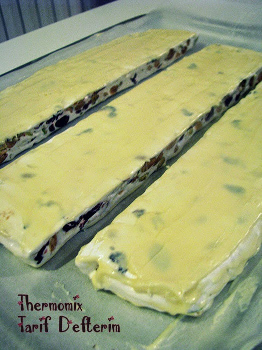 White Torrone with Nuts and Fruits prepared with Thermomix