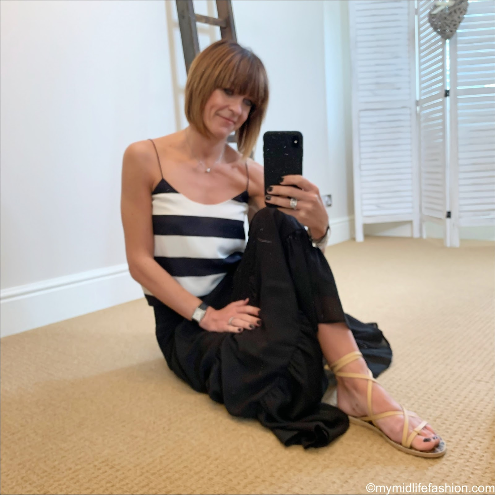 my midlife fashion, tiki stripe camisole, marks and Spencer tiered maxi skirt, Ancient Greek morfi beige leather sandals