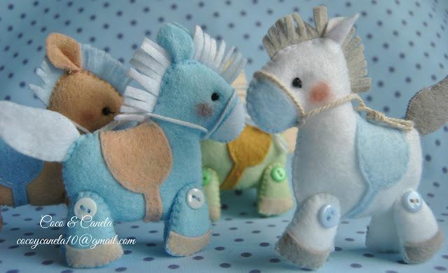 blue felt horse