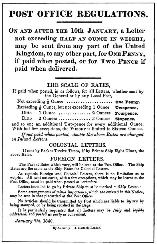 Scan of The official handbill of January 19, 1840 announcing the introduction of the Uniform Penny Post in England