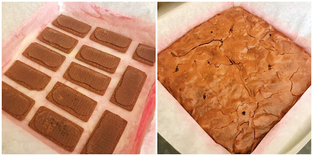 collage - to the left is the bourbon biscuits lined up in the cake tin, and to the right is the brownies when they had just come out of the oven