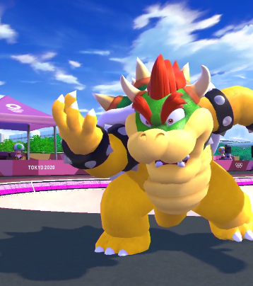 Bowser character model Mario & Sonic Olympics Games Tokyo 2020 skateboarding eyes wide open