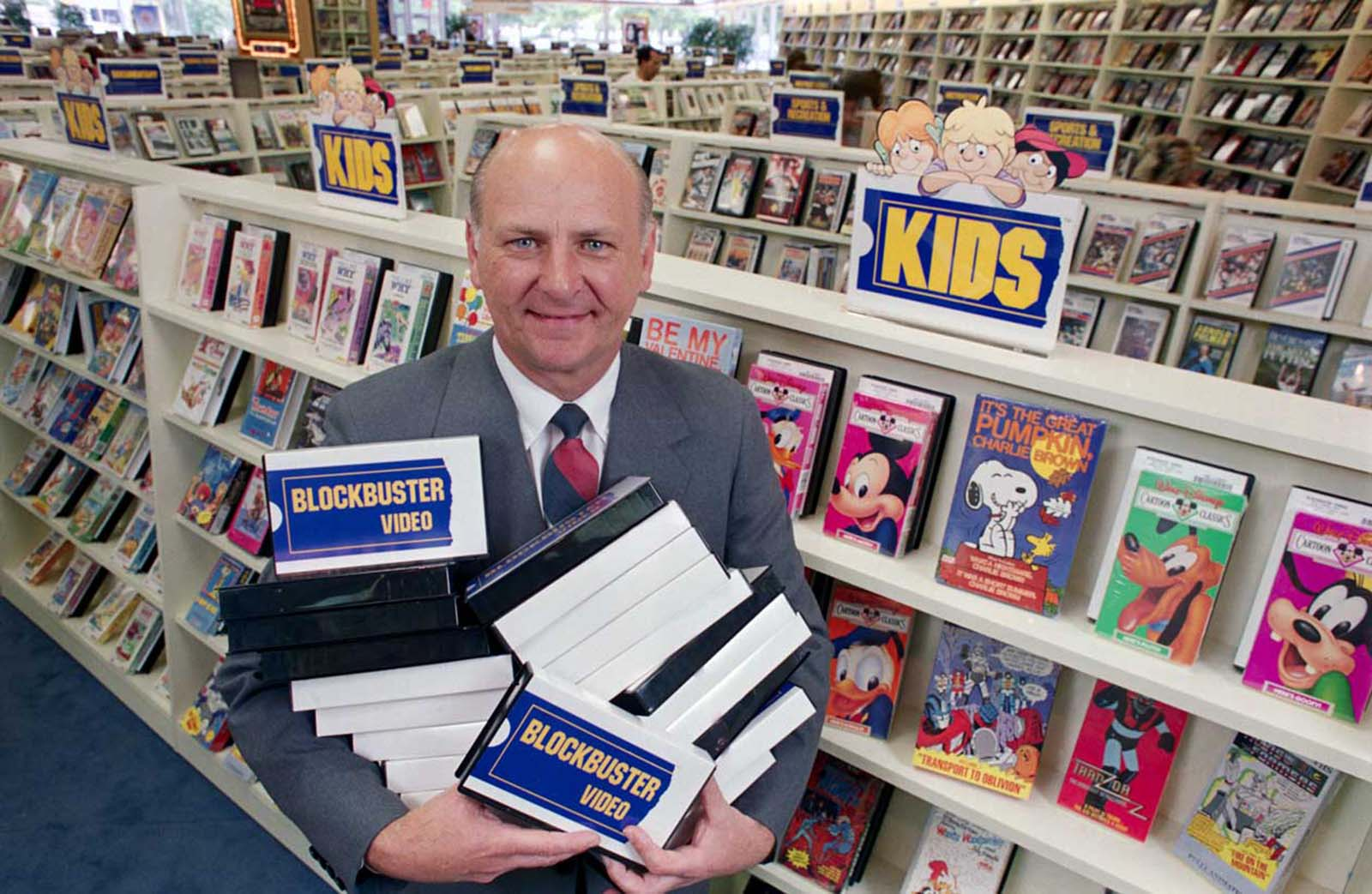 "H. Wayne Huizenga, chairman of Blockbuster Entertainment Corporation. The original caption states he ""wants to build a nationwide chain of video cassette rental stores. During the first quarter of this year, Blockbuster opened or acquired 84 stores and, as of June 30, they operated 235 stores, up from 19 at the end of 1986."""