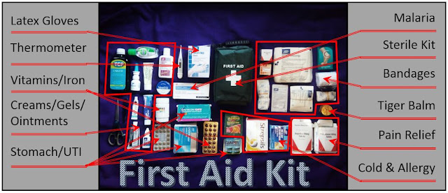My first aid kit all laid out: latex-free gloves, thermometer, vitamins and iron, creams, gels, ointments, stomach and UTI medicine, malaria medicine, sterile kit, bandages, tiger balm, pain relief, cold and allergy medicine