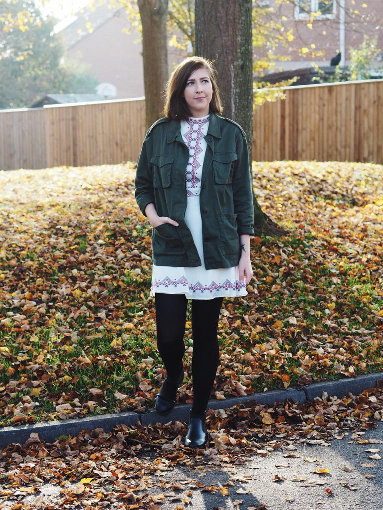 asosfolkdress, asosdress, folkdesigndress, H&Mkhakijacket, khakijacket, autumnfashion, autumnandwinterfashion, fbloggers, fashionbloggers, ootd, outfitoftheday, wiw, whatimwearing, asseenonme