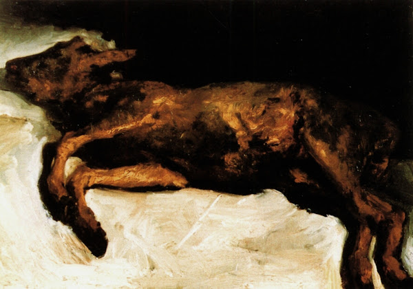 New-Born Calf Lying on Straw, Vincent van Gogh, Macabre Art, Macabre Paintings, Horror Paintings, Freak Art, Freak Paintings, Horror Picture, Terror Pictures
