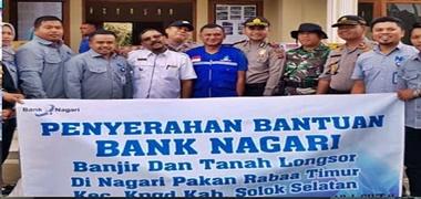 Bank Nagari Berikan Bantuan Kepada Korban Banjir dan Lonsor di Solok Selatan