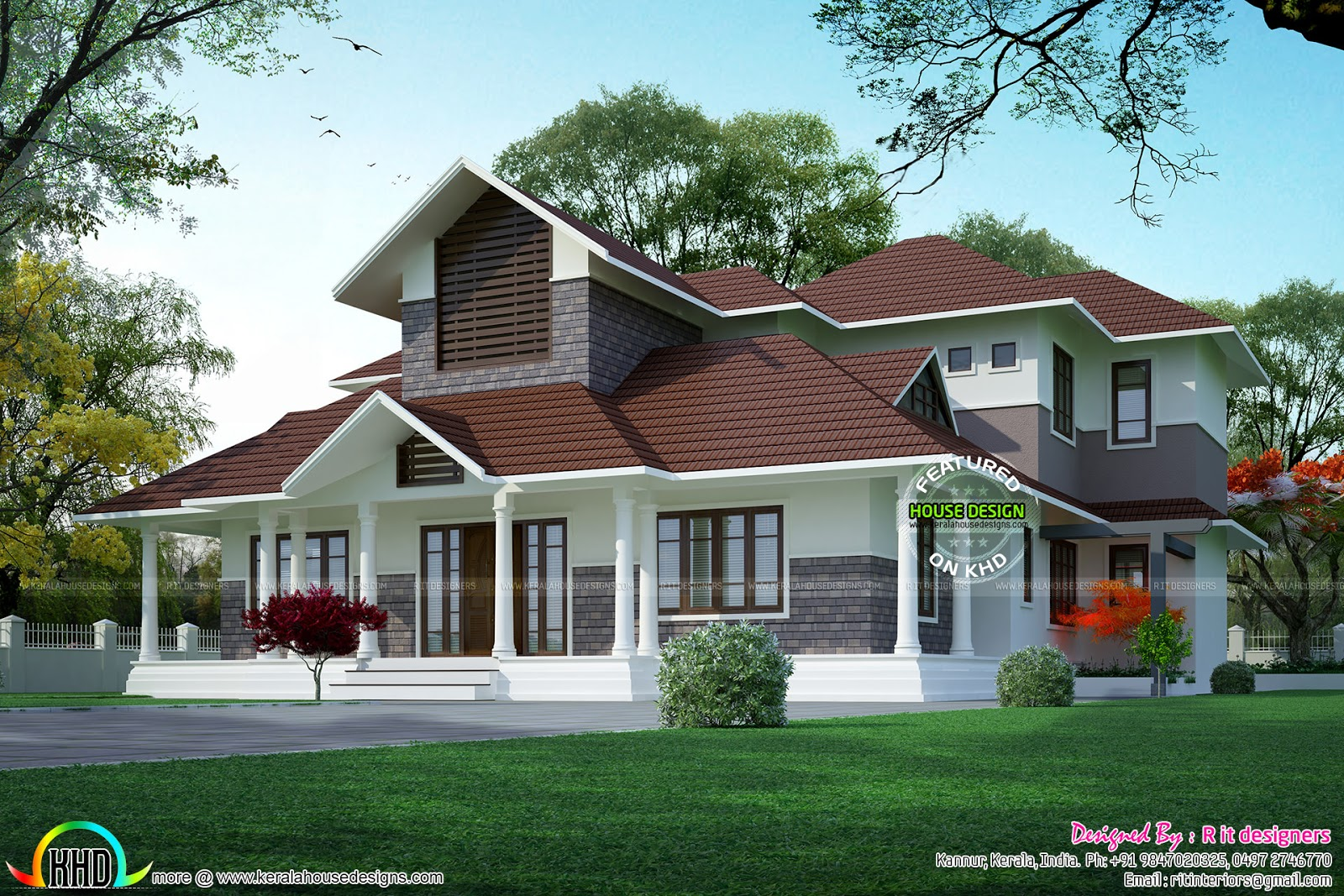 Cute slope roof double floor home kerala home design and for Slope home design