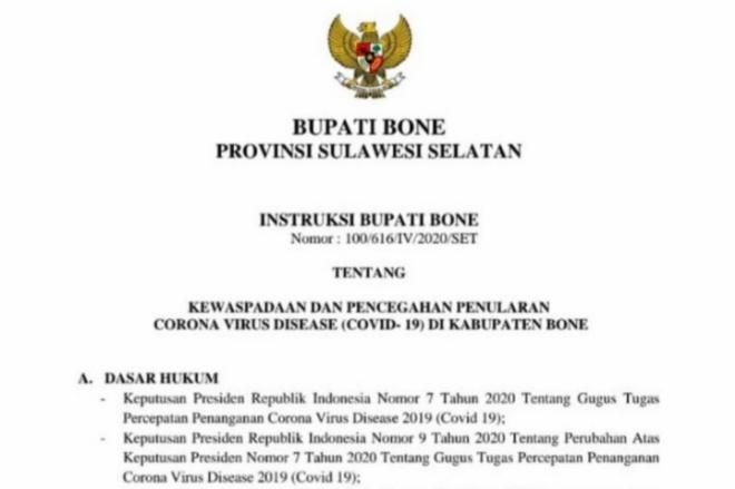 Instruksi Bupati Bone: Warung, Toko, dan Swalayan Wajib Tutup 17.30