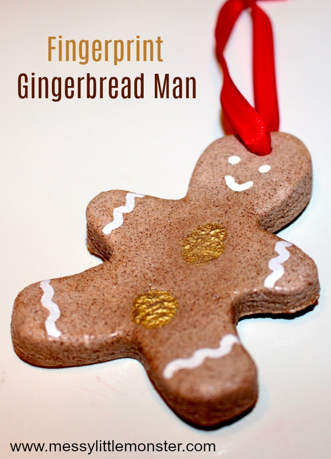 Cinnamon Salt Dough Ornament - Fingerprint Gingerbread Man ...