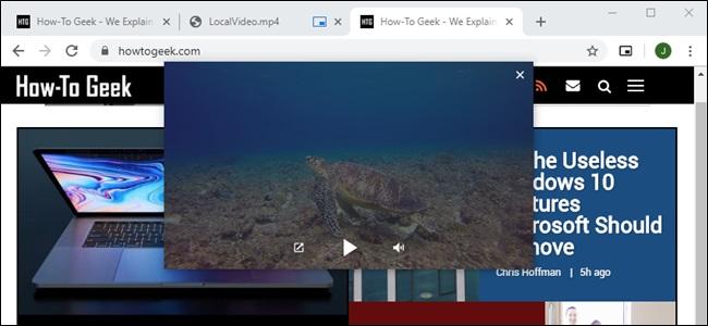جوجل كروم صور في صورة الفيديو المحلية