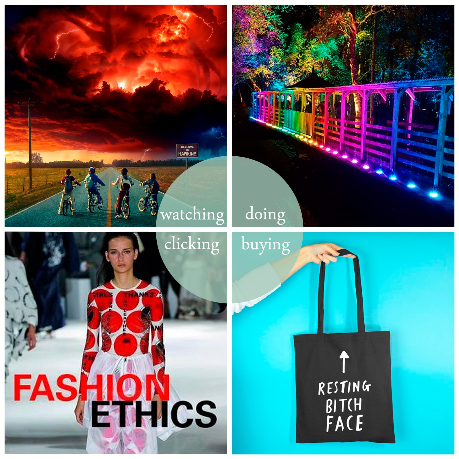Blogger round up featuring Stranger Things 2, Enchanted Forrest, Rock on Ruby and Fashion Ethics