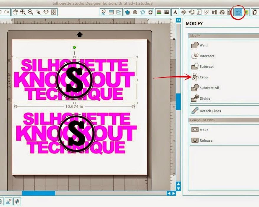 Silhouette tutorial, knockout technique, knockout, Silhouette Studio, modify, crop