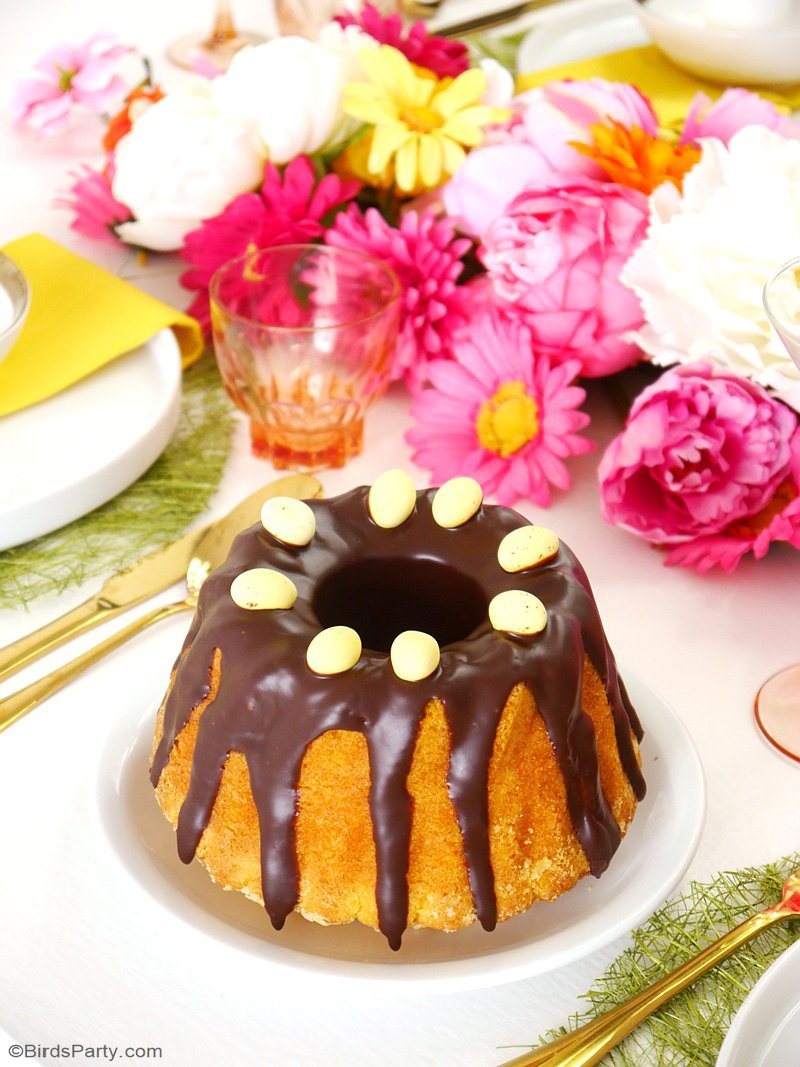 Brazilian Carrot Bundt Cake Recipe - a quick, easy and delicious carrot sponge cake with chocolate ganache sauce, perfect dessert for Easter brunch! by BirdsParty.com @birdsparty