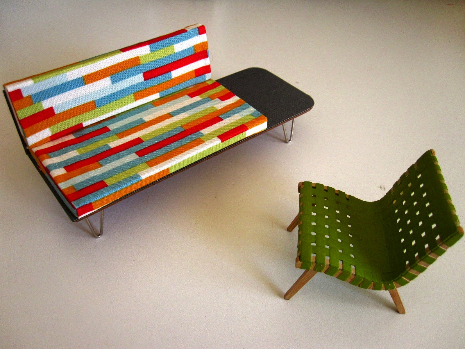 Mid century modern miniature sofa with attached coffee table and Jens Risom armchair,