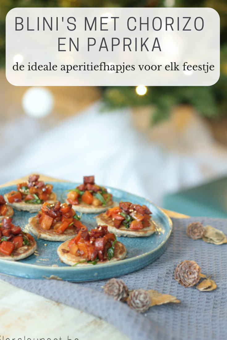 Aperitiefhapje voor kerst: blini's met chorizo en paprikachutney - a floral sunset