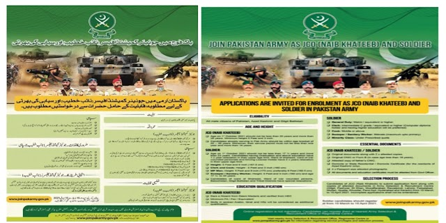 Join Pakistan Army As a Naib Khateeb And Solider Jobs 2021