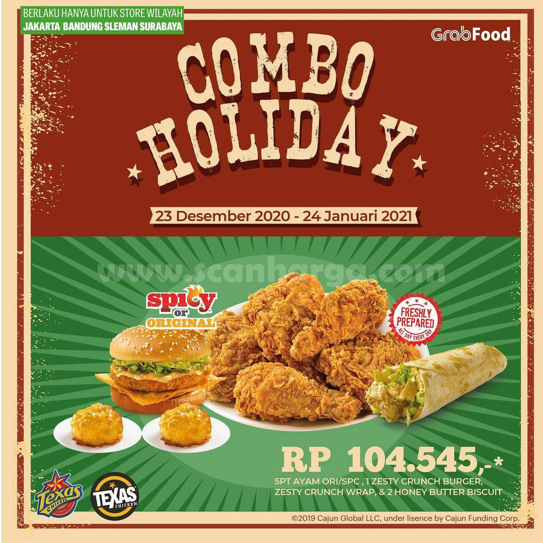 Promo TEXAS CHICKEN COMBO HOLIDAY Hanya Rp 104.545 via GRABFOOD