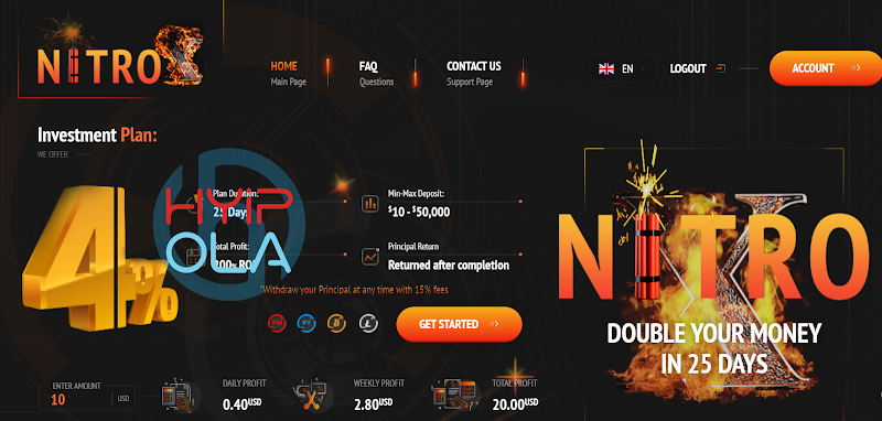 [Not Monitored] Review NitroX - Dự án chiến nhanh lãi 4% hằng ngày - Thanh toán Manual