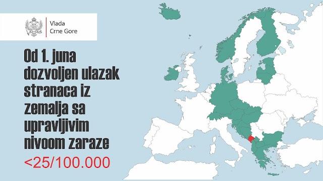 Pročitajte iz kojih država građani mogu u Crnu Goru od 1. juna