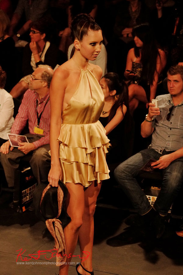 Gold halterneck dress, Raffles College 2012 Graduate Fashion Show Carriageworks, Everleigh Sydney