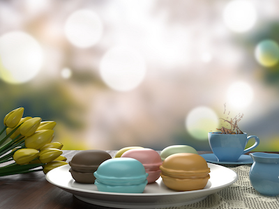 3D Macaroons with tea and flowers background
