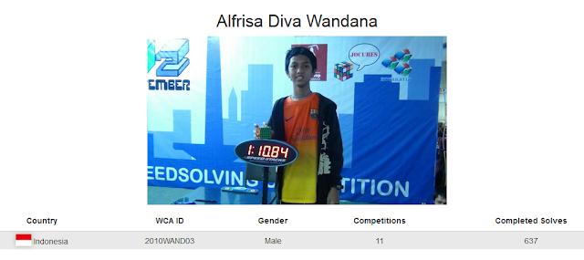 Profile akun WCA Alfrisa Diva Wandana peringkat lima rubik 5x5 kategori single