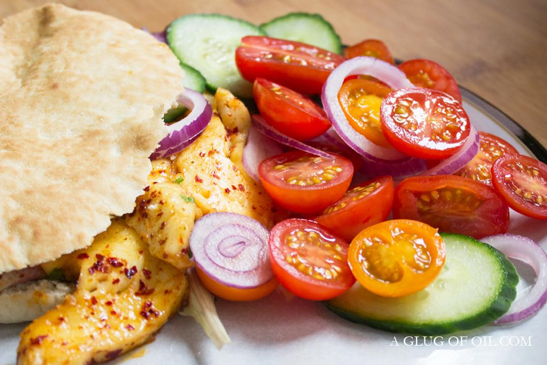 Halloumi in Pita Bread with tomato salad