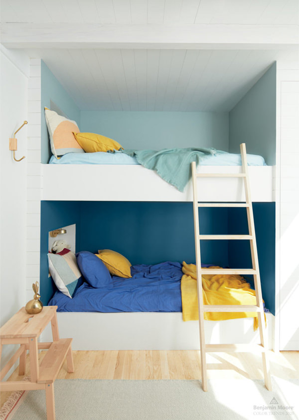 built it bunk beds painted with Benjamin Moore Blue Danube and Buxton Blue
