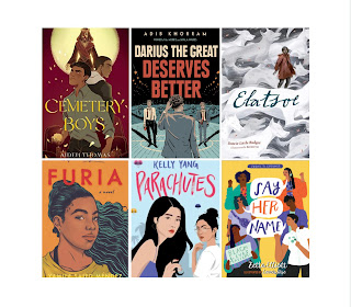 Book covers including Cemetery Boys, Darius the Great Deserves Better, Elatsoe, Furia, Parachutes, and Say Her Name