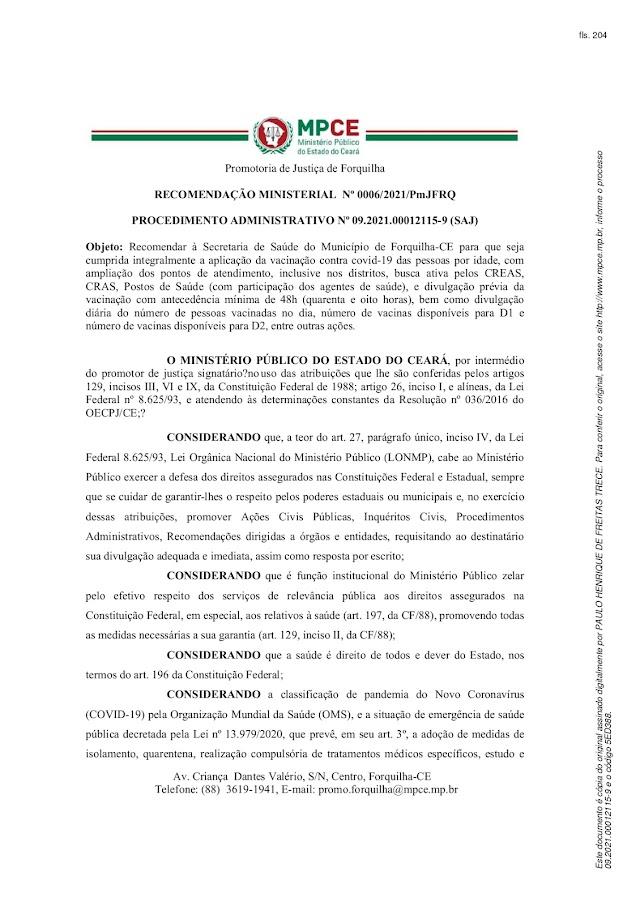 MPCE recomenda que município de Forquilha e a Secretaria de Saúde a adotarem providências relacionadas a aplicação da vacinação contra covid-19
