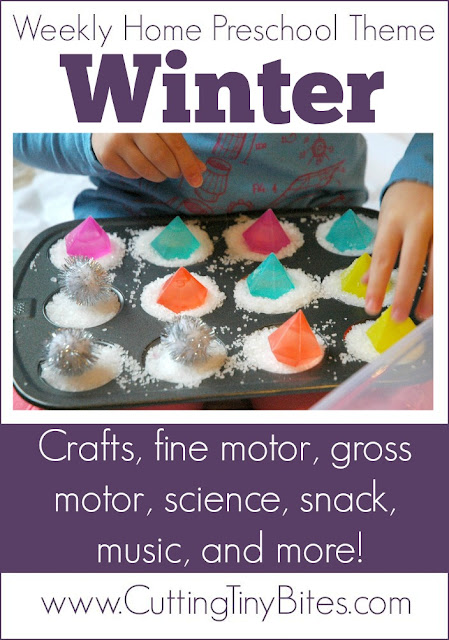 Winter Theme- Weekly Home Preschool. Gross motor, fine motor, crafts, snack, music, science, and more! Prefect amount of activities for one week of EASY homeschool Pre-K.