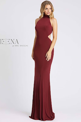 Open Back High Neck Long Ieena For Mac Guggal Evening dress Burgundy color