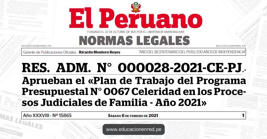RES. ADM. N° 000028-2021-CE-PJ.- Aprueban el «Plan de Trabajo del Programa Presupuestal N° 0067 Celeridad en los Procesos Judiciales de Familia - Año 2021»