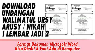 Download Undangan Walimatul Arusy / Walimatul Ursy 1 Lembar Jadi 2 Format Doc