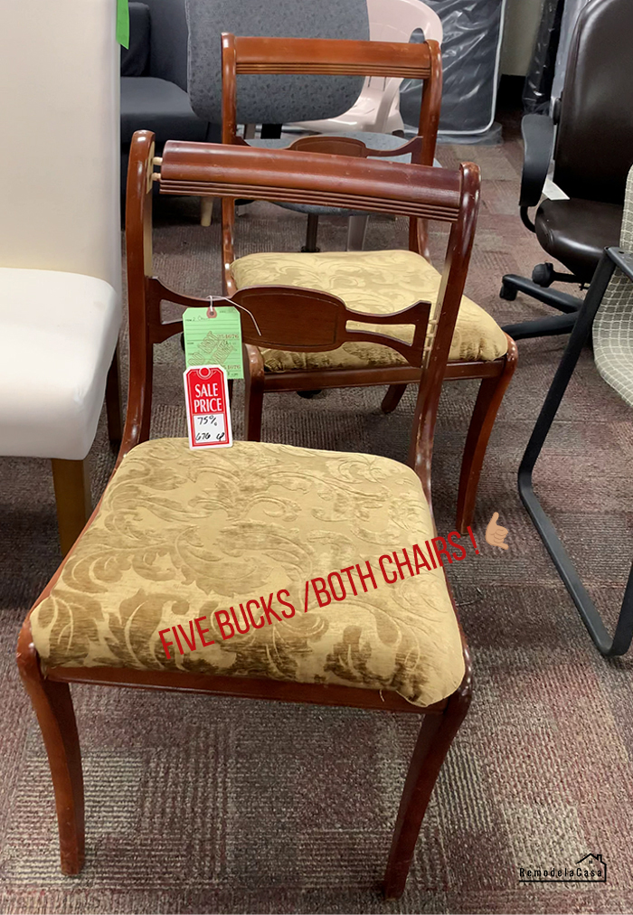 drab chairs in thrift store