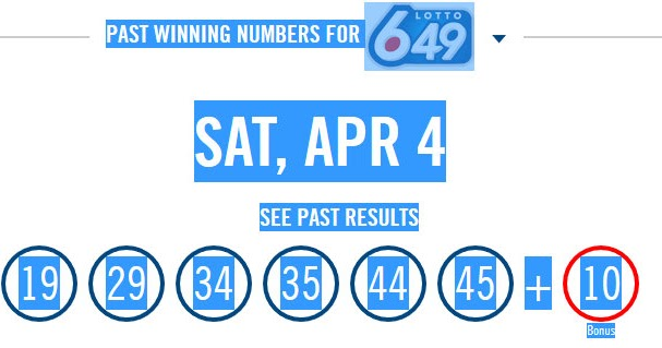 Lotto 649 Canada Results