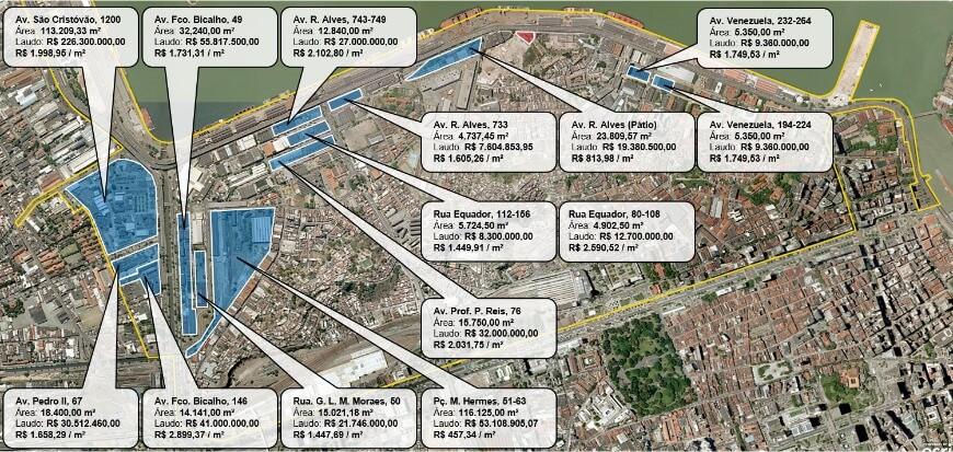 Figura 04 - Mapa terrenos estratégicos Porto Maravilha