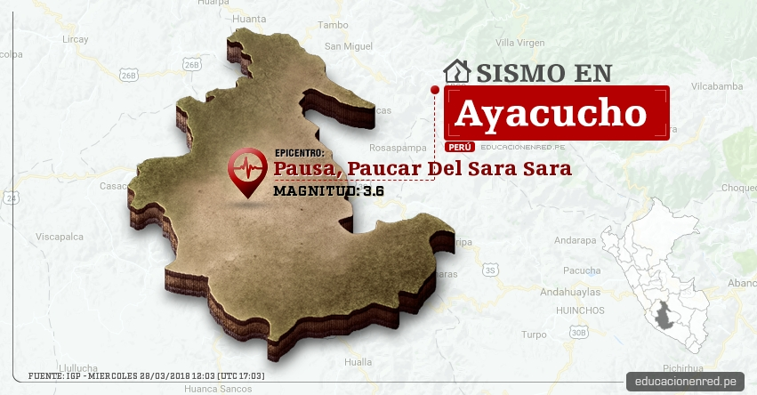 Temblor en Ayacucho de magnitud 3.6 (Hoy Miércoles 28 Marzo 2018) Sismo EPICENTRO Pausa, Paucar Del Sara Sara - IGP - www.igp.gob.pe