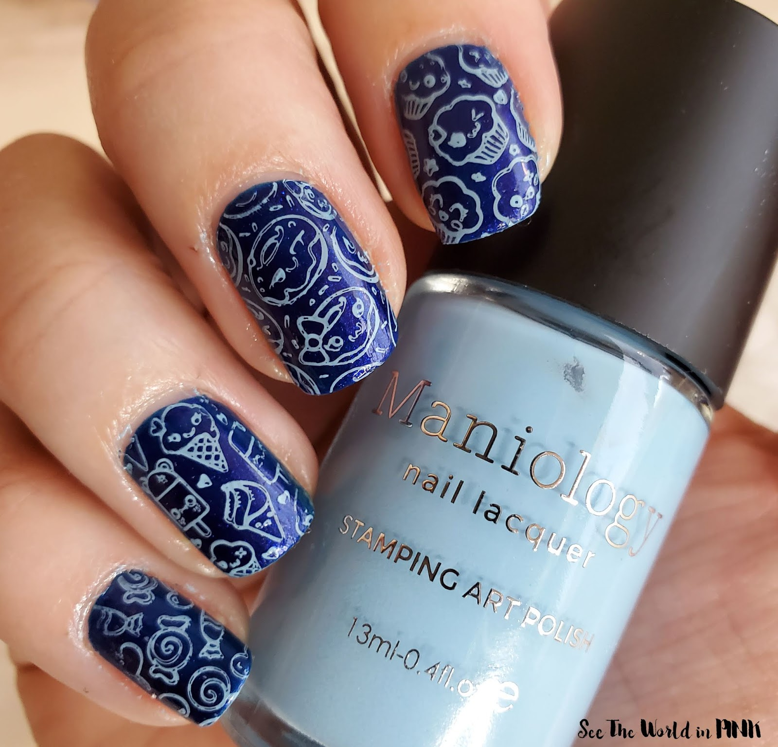 "Manicure Monday -"" Stay Home and Eat All The Treats"" Stamped Nails"